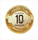 Etiqueta dourada do aniversário 10 anos Fotos de Stock