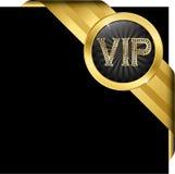 Etiqueta dourada do Vip com diamantes e fitas do ouro Imagem de Stock