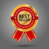 Etiqueta dourada e vermelha superior do melhor vendedor com Fotos de Stock Royalty Free