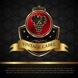 Etiqueta dourada para o vinho da embalagem Fotos de Stock