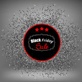 Etiqueta e confetes de Black Friday Fotos de Stock Royalty Free