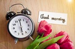 Etiqueta e despertador do bom dia Fotografia de Stock