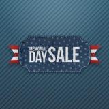 Etiqueta e fita do cumprimento da venda de Memorial Day ilustração stock