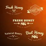 Etiqueta e insignia de la abeja Fotografía de archivo