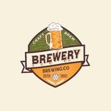Etiqueta e Logo Template da cerveja Fotografia de Stock