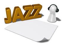 Etiqueta e penhor do jazz com fones de ouvido Foto de Stock