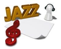 Etiqueta e penhor do jazz com fones de ouvido Fotografia de Stock Royalty Free