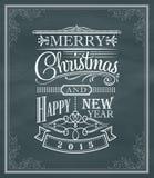 Etiqueta e quadro do vintage do ano novo do Natal em um quadro-negro Fotos de Stock Royalty Free