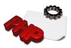 Etiqueta e roda denteada do PHP Imagens de Stock Royalty Free