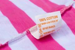 Etiqueta el ciento por ciento de algodón Fotografía de archivo libre de regalías