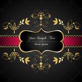 Etiqueta elegante, escura, ouro-moldada Fotografia de Stock Royalty Free