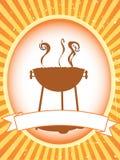 Etiqueta em branco do produto do BBQ do marrom ilustração stock