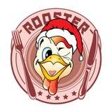 Etiqueta em um ano novo no estilo dos desenhos animados sob a forma de uma cabeça do galo no chapéu Santa Fotografia de Stock Royalty Free