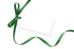 Etiqueta en blanco con la cinta verde Imagenes de archivo