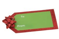 Etiqueta en blanco del regalo de la Navidad fotos de archivo