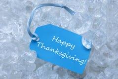 Etiqueta en el hielo con acción de gracias feliz Imagen de archivo libre de regalías