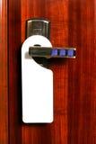 Etiqueta en puerta Foto de archivo libre de regalías