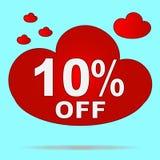 Etiqueta engomada aislada de la nube roja para la venta en tienda El diez por ciento de SID Fotos de archivo libres de regalías