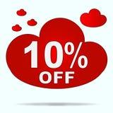 Etiqueta engomada aislada de la nube roja para la venta en tienda El diez por ciento de SID Imagen de archivo