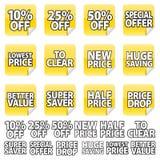 Etiqueta engomada amarilla del precio fotografía de archivo libre de regalías