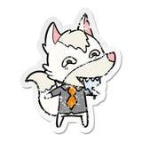 etiqueta engomada apenada de un lobo hambriento de la historieta en ropa de la oficina stock de ilustración