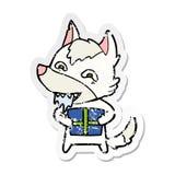 etiqueta engomada apenada de un lobo hambriento de la historieta que lleva a cabo el regalo de Navidad stock de ilustración