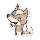 etiqueta engomada apenada de un lobo hambriento de la historieta libre illustration