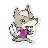etiqueta engomada apenada de un lobo hambriento de la historieta stock de ilustración