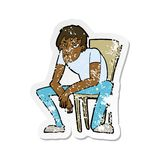 etiqueta engomada apenada retra de un hombre desanimado historieta libre illustration