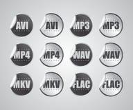 Etiqueta engomada audio del formato de archivo de vídeo Foto de archivo