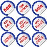 Etiqueta engomada azul de la etiqueta engomada Imágenes de archivo libres de regalías