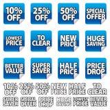 Etiqueta engomada azul del precio fotos de archivo libres de regalías