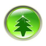 Etiqueta engomada brillante con el árbol de Navidad Imagen de archivo libre de regalías