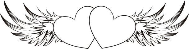 Etiqueta engomada coa alas de los corazones Imagen de archivo