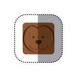 etiqueta engomada colorida de la cara de la cara del mono en marco cuadrado Imagenes de archivo