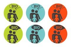 Etiqueta engomada colorida del vector de la bio familia Sistema de etiqueta org?nico ilustración del vector