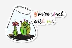 Etiqueta engomada con el cactus lindo divertido coloreado ilustración del vector