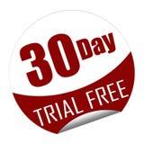 Etiqueta engomada con el texto ensayo de 30 días libremente stock de ilustración