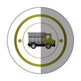 Etiqueta engomada con forma circular con el camión volquete colorido Imagen de archivo libre de regalías