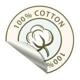Etiqueta engomada con la imagen del algodón y la inscripción en el círculo ilustración del vector