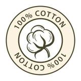 Etiqueta engomada con la imagen del ejemplo del vector del algodón stock de ilustración