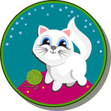 Etiqueta engomada con un gato blanco Foto de archivo