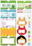 Etiqueta engomada de la cupón del precio de venta libre illustration