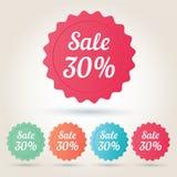 Etiqueta engomada de la insignia de la venta el 30% del vector Fotos de archivo libres de regalías