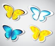 Etiqueta engomada de la mariposa de la colección Vector Fotos de archivo
