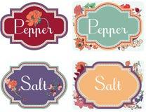 Etiqueta engomada de la sal y de la pimienta Fotografía de archivo libre de regalías