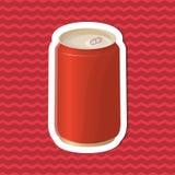 Etiqueta engomada de la soda en una lata en fondo rayado rojo Elementos del diseño gráfico para el menú, cartel, folleto Ejemplo  Foto de archivo libre de regalías