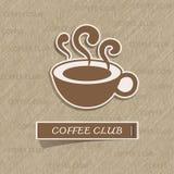 Etiqueta engomada de la taza de café en el papel marrón Imagen de archivo libre de regalías