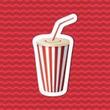 Etiqueta engomada de la taza de la soda en fondo rayado rojo Elementos del diseño gráfico para el menú, cartel, folleto Ejemplo d Imágenes de archivo libres de regalías