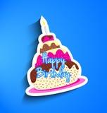Etiqueta engomada de la torta de cumpleaños Fotografía de archivo